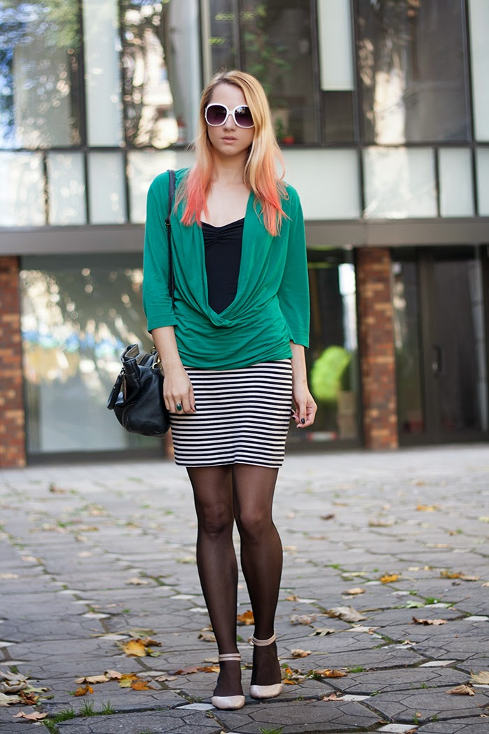 skinny buddha orange ombre hair stripes skirt H&M