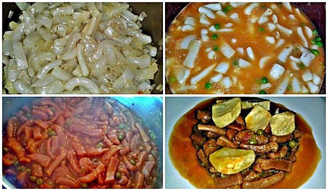 Preparación de los calamares en salsa picante