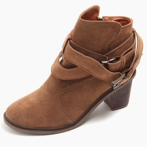 Suede Belt Wrap Around Western Boots