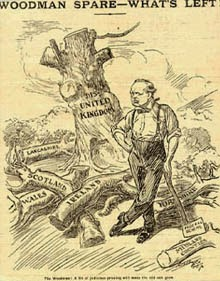 political cartoon about Churchill and devolution