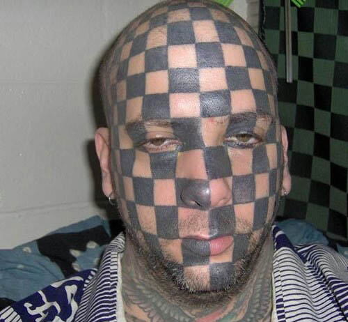 Get A Job Finding Checkered Funny Bad Tattoo Face
