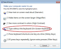 On Screen keyboard option