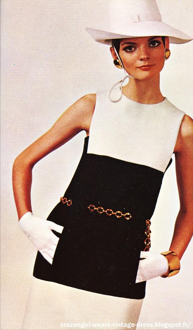 Christian Dior . 1967 . black white dress 60s 1960