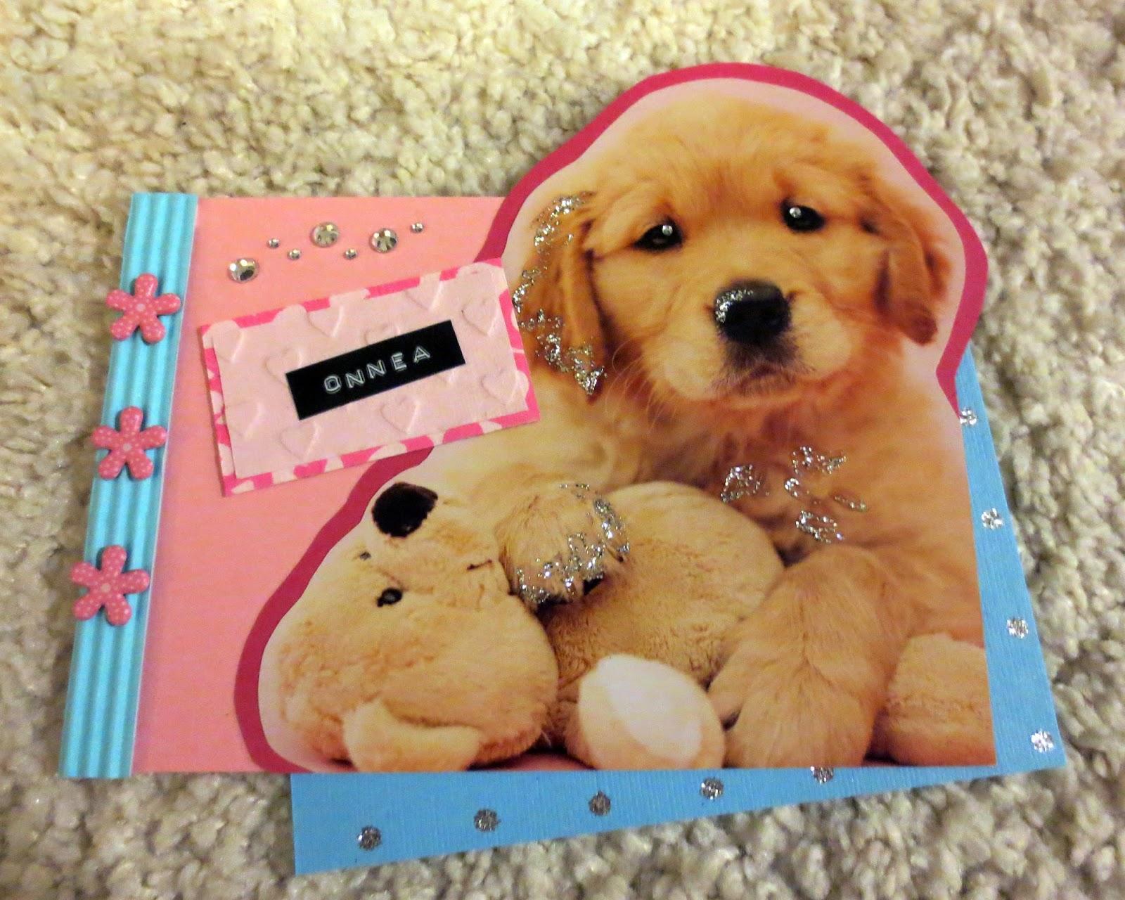 diy cute puppy card for girl
