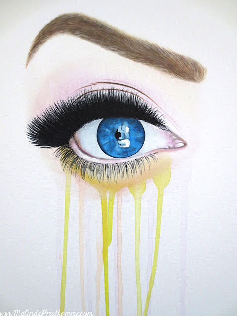 Eyes, Eye Painting, Blue Eyes, Eye Art, Portrait, Portrait Artist, Malinda Prudhomme, Toronto, Toronto Artist, Chelsea Collinson, Eye Lashes, Beauty Art, Beauty, Malinda Prudhomme, Original Artwork, Mixed Media Art