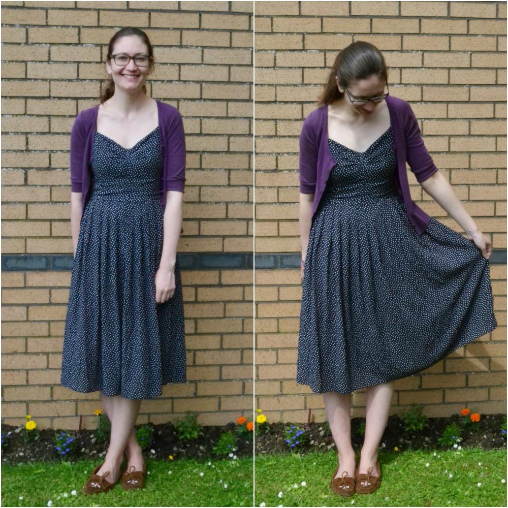 vintage polka dot dress mocassins