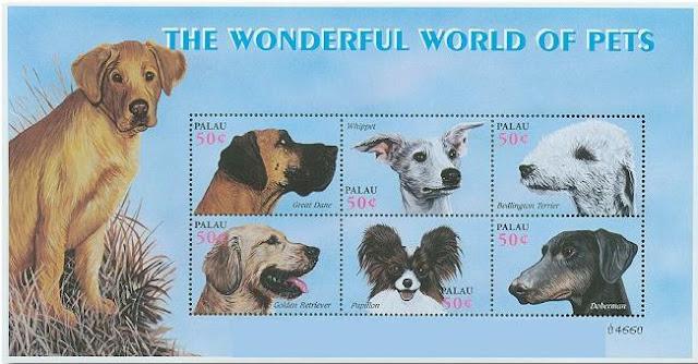 2002年パラオ共和国 グレート・デーン ウィペット ベドリントン・テリア ゴールデン・レトリーバー パピヨン ドーベルマンの切手シート