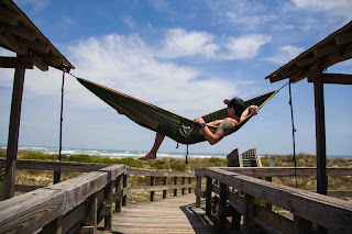 Justin Fricke The Weekend Warrior lounging back in an Easgles Nest Outfitters Doublenest Hammock