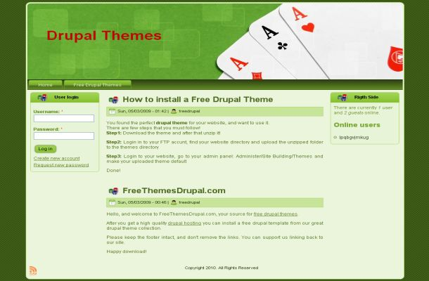 Free Drupal Casino Poker Green Theme Template