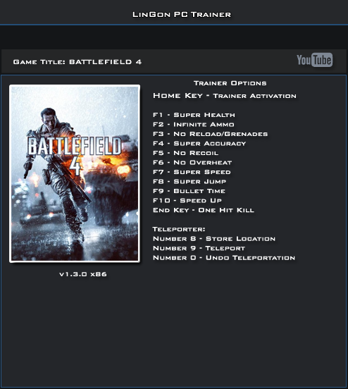 Battlefield 4 v1.3.0 32 Bit  Trainer+13 [LinGon]