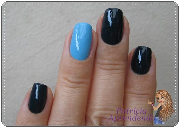 Combinação de esmaltes azuis que ficou muito bonita.
