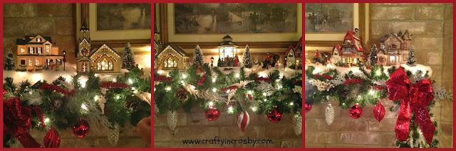 Christmas mantel, snow village, Christmas Village, garland
