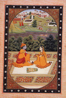 Folio from a Baramasa Series: Krishna and Radha on a Terrace
