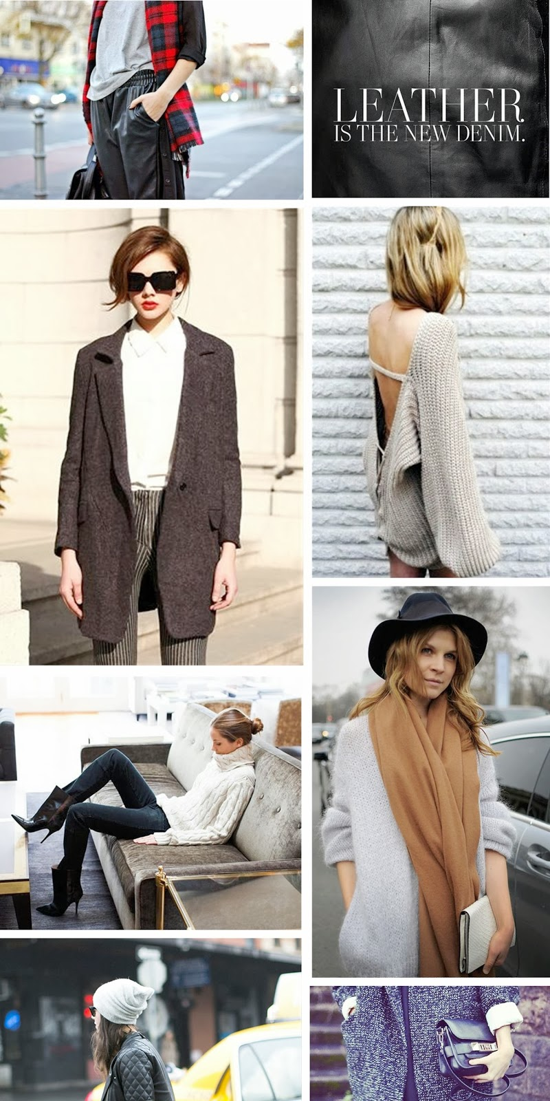 winter trends 2013 2014, fashion inspiration board, fashion blogger, leather trend, tartan trend, oversize boyfriend coat, layering,beanie