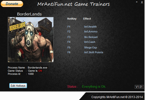 BorderLands V1.4.2.1 Trainer +6 MrAntiFun