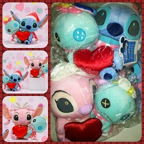 2009 Disney Sega Xmas Valentine Stitch Angel & Scrump Plush Set