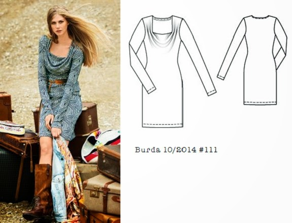 Burda_10_2014_#111_cowl_neck_dress