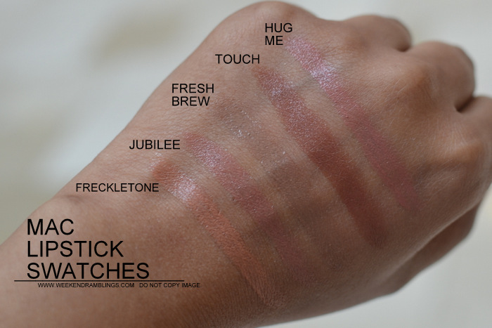 MAC Lipsticks swatches Indian Darker Skin NC45 Makeup Beauty Blog Freckletone Jubilee Fresh Brew Touch Hug Me