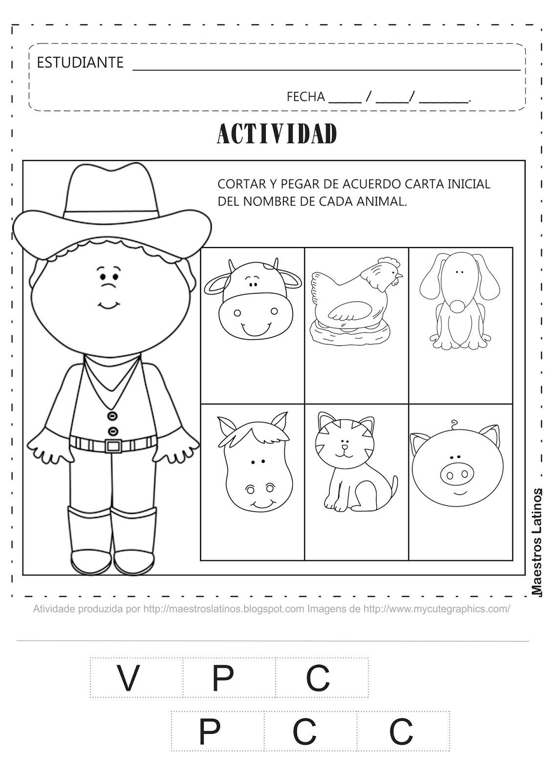 Actividad Educacion Infantil cortar y Pegar Don Lobato Animales Domésticos