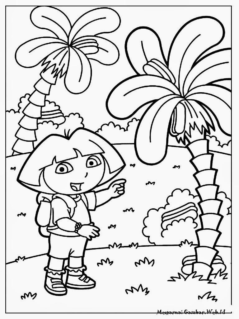 Mewarnai Dora The Explorer Berada Di Antara Pohon Kelapa