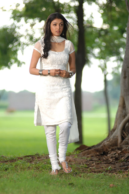 Kajal Agarwal in White Churidar Dress, White Embroidered Transparent Dress