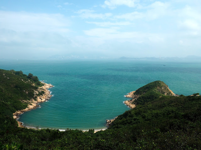 View of ocean, coastline, and beach inlet from North Lookout Pavilion on Cheung Chau Island, Hong Kong