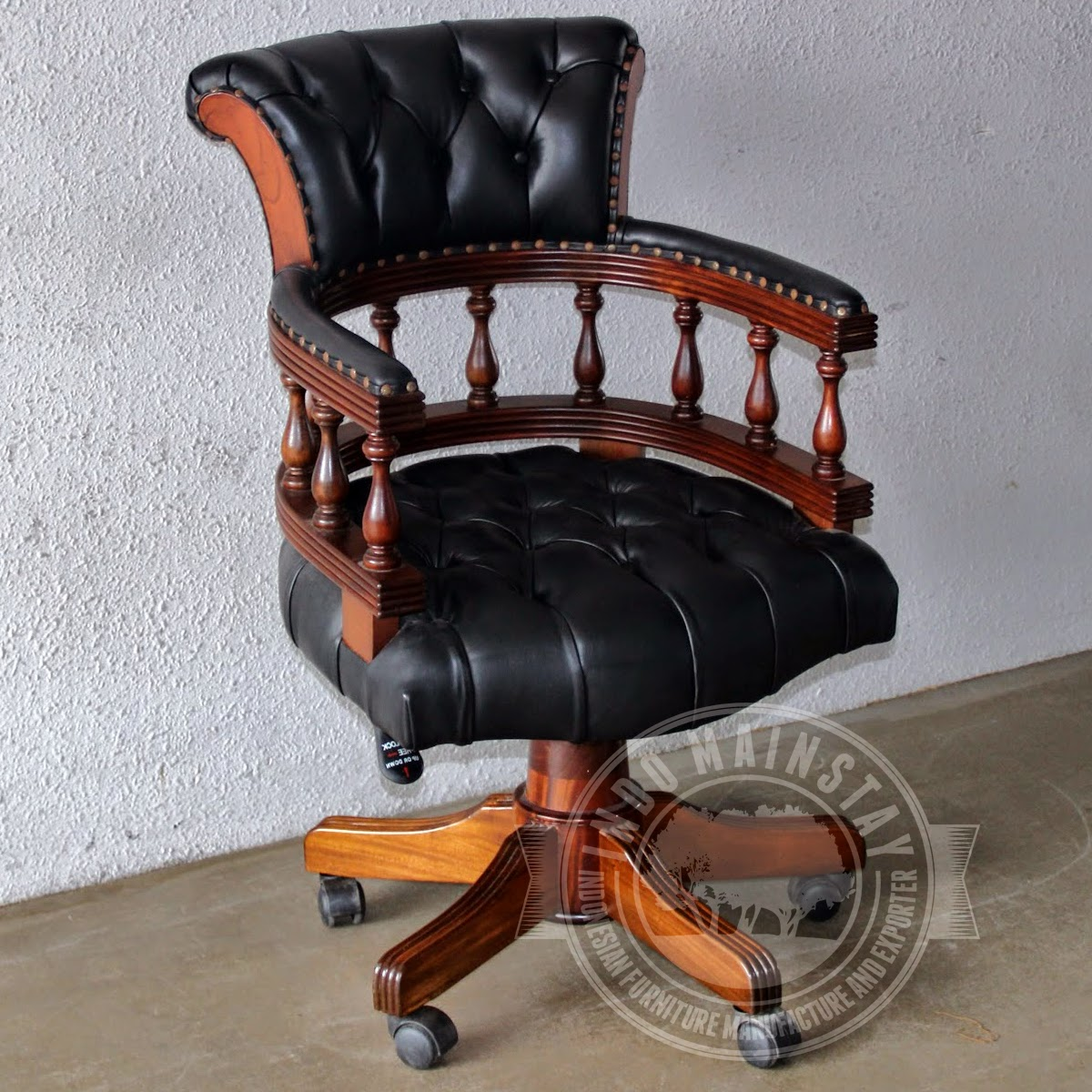 Reproduction antique classic office chair mahogany indo for Classic reproduction furniture