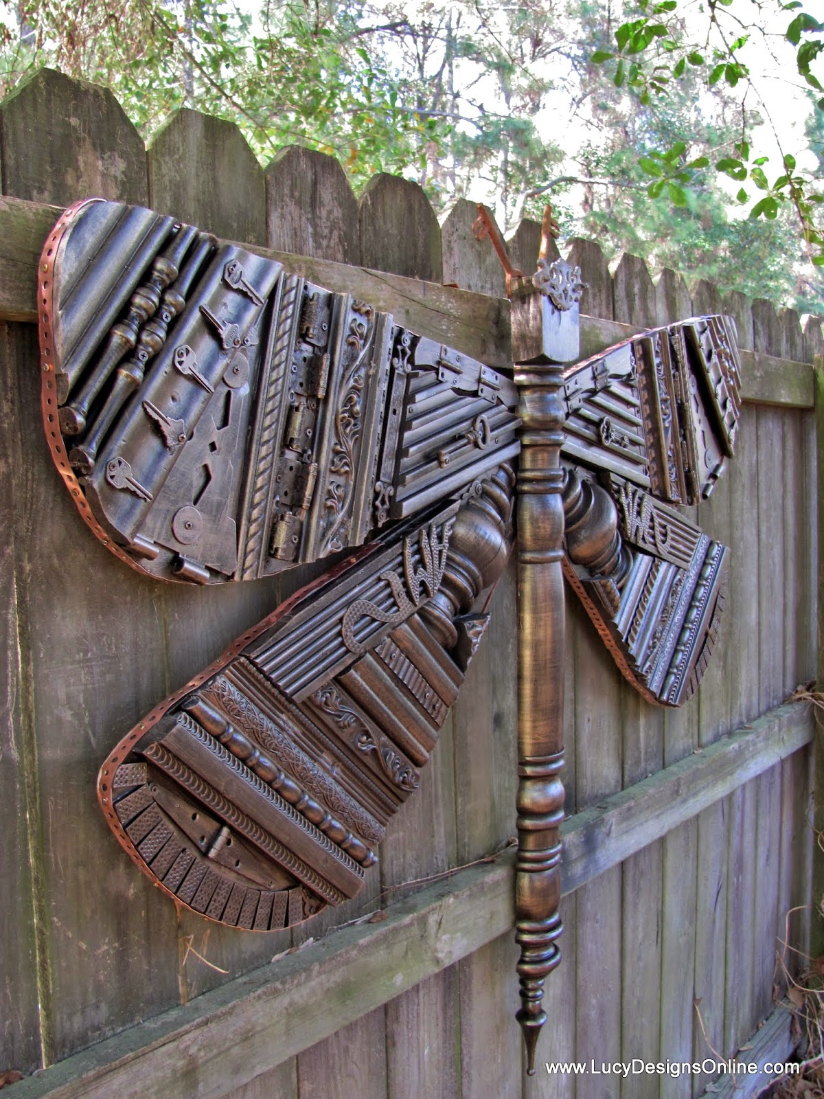 5ft recycled repurposed dragonfly art