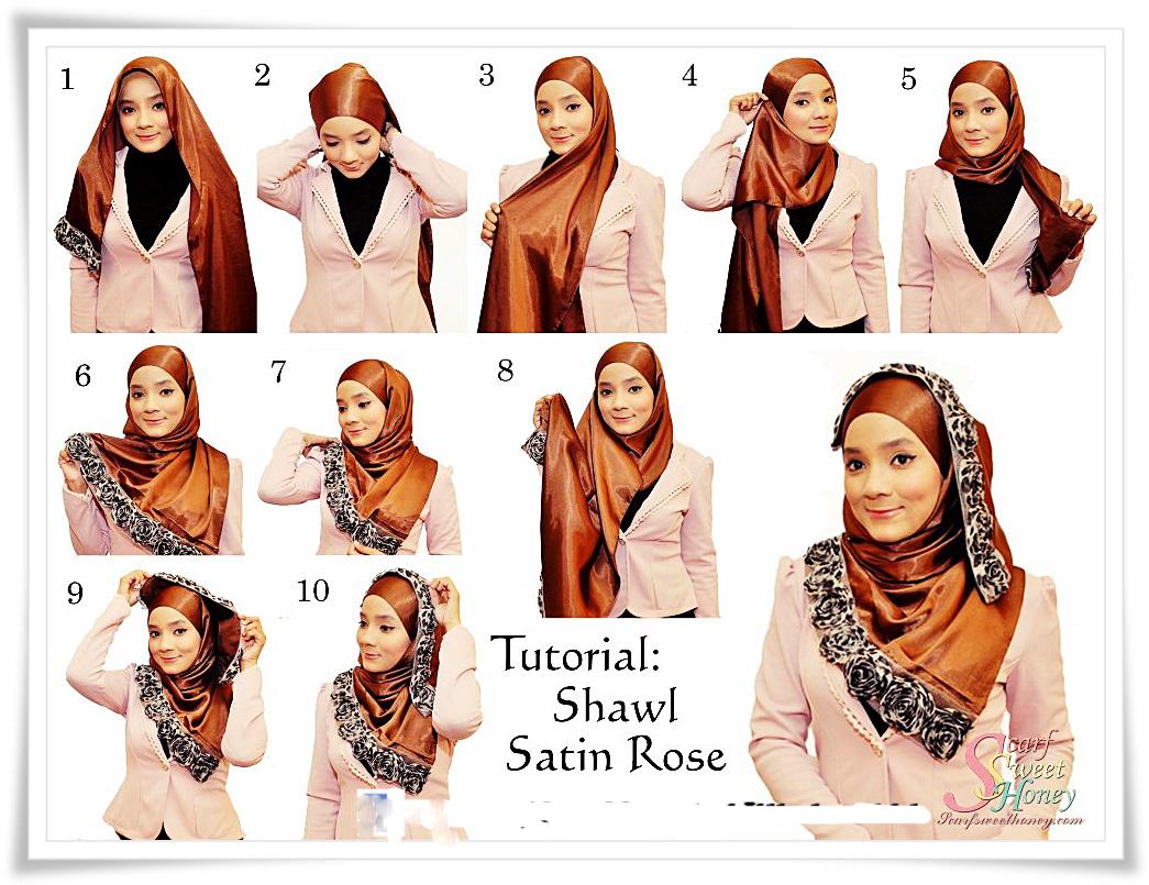 Hijab Wisuda - Tutorial Cara Hijab Shawl Satin Untuk Wisuda