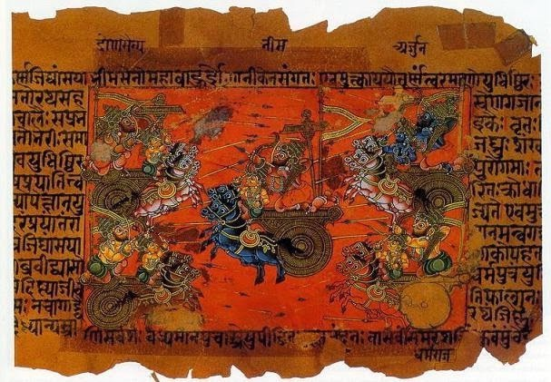 A manuscript illustration (18th c.?) of the Battle of Kurukshetra, fought between the Kauravas and the Pandavas, recorded in the Mahabharata Epic.
