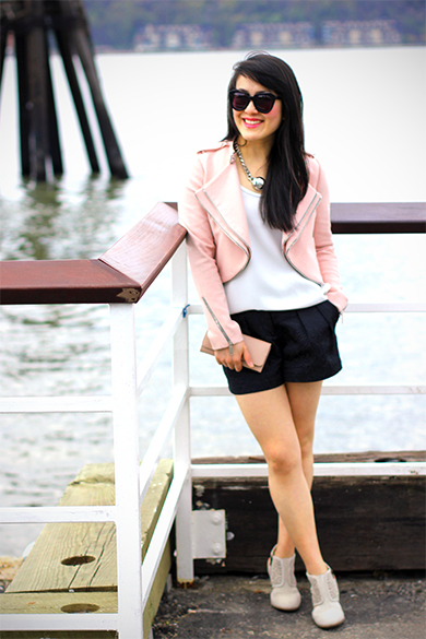 Zara pink moto jacket with zips with Witchery black embroidered shorts