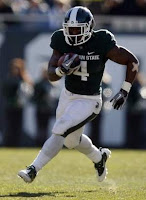 Michigan State's Edwin Baker wants to get hot and sweaty in Lucas Oil Stadium.