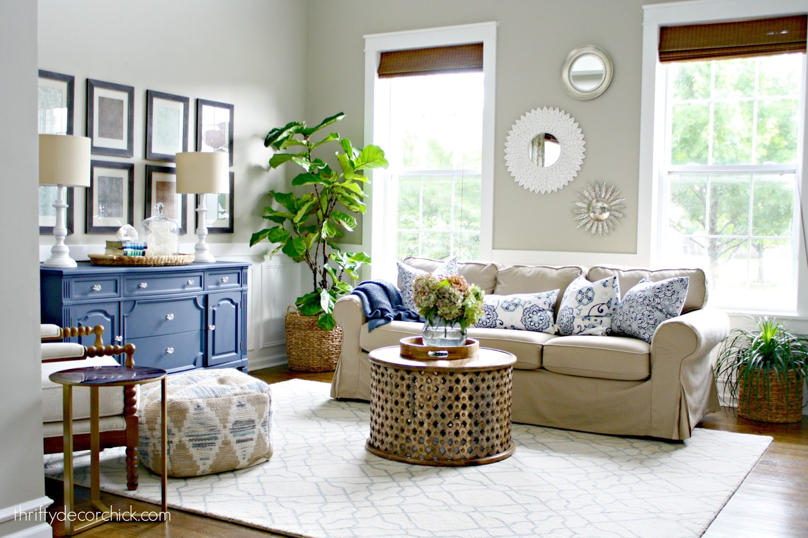 cream slipcovered sofa living room