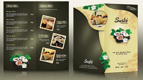 Create a Half Fold Menu Brochure Mockup Photoshop Tutorial