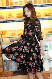 Half Sleeve Floral Chiffon Midi Dress