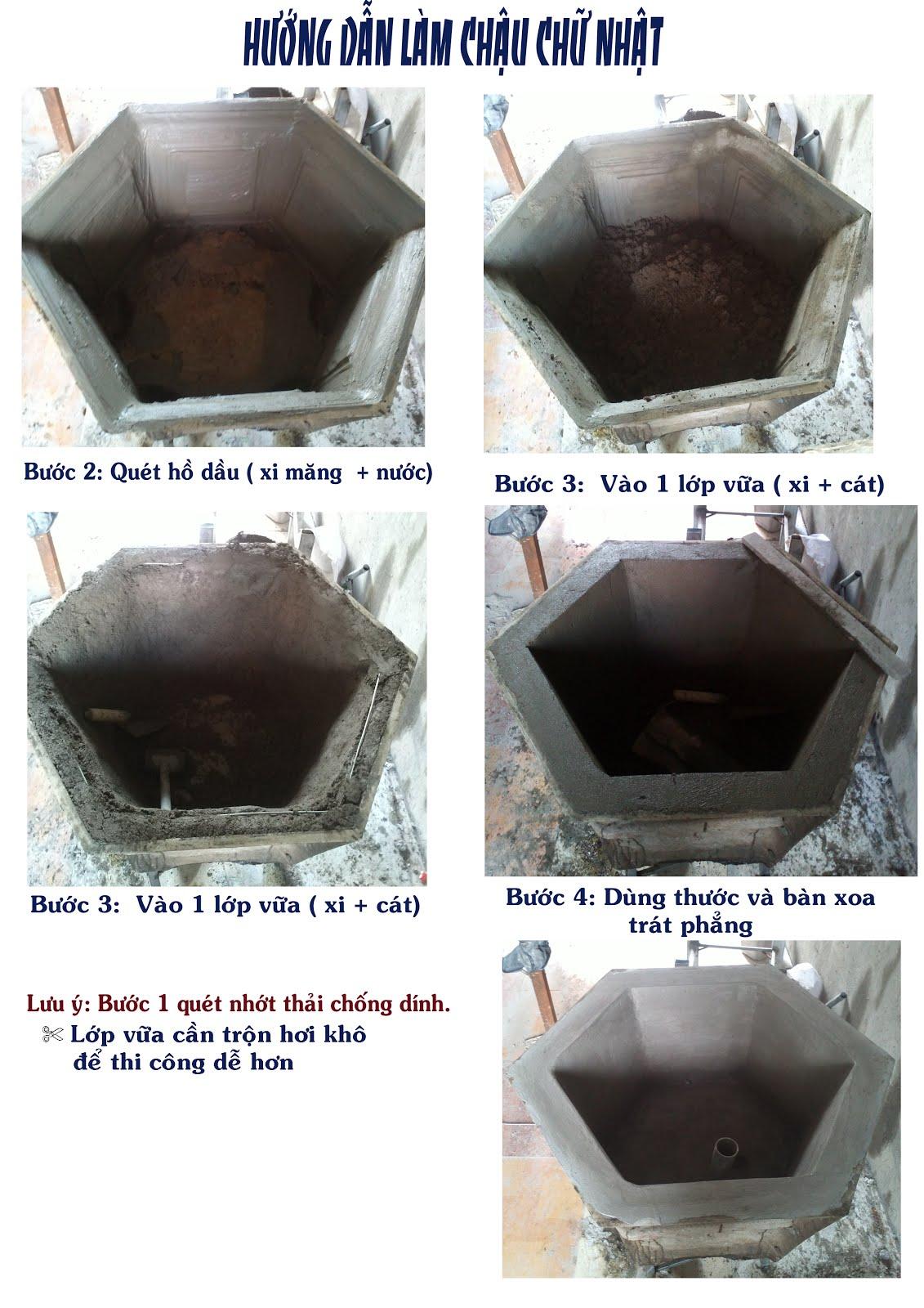 Cách làm chậu xi măng
