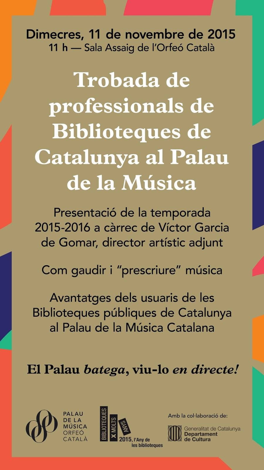 trobada al Palau de la Música de l'Any de les biblioteques