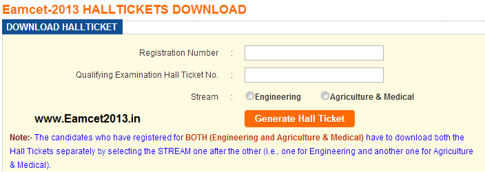 Download Eamcet 2013 Hall Ticket in apeamcet.org