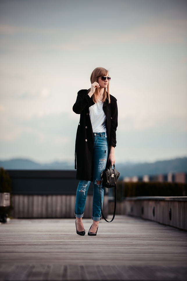 ripped jeans outfit, ootd spring outfit, black extra long trench coat, white shirt outfit, philip lim mini pashli replica lookalike knockoff, style blogger, fashion blogger