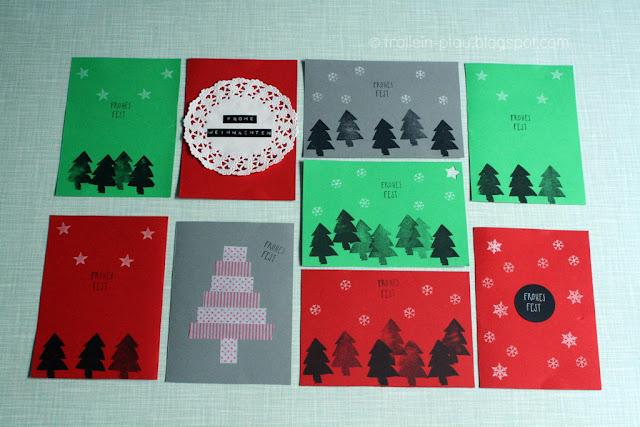Weihnachtskarten selber machen, selbstgemacht, DIY, basteln, Weihnachtspost, Karten, Post, Weihnachten, basteln, kreativ, Tonpapier, Tortenspitze, Bastelideen, basteln mit Kindern, Stempel, Frohes Fest, Frohe Weihnachten