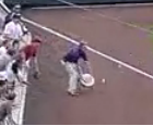 Rockies ballboy attempts to catch foul ball with chair