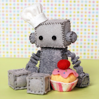 Robot Plush with a Cupcake