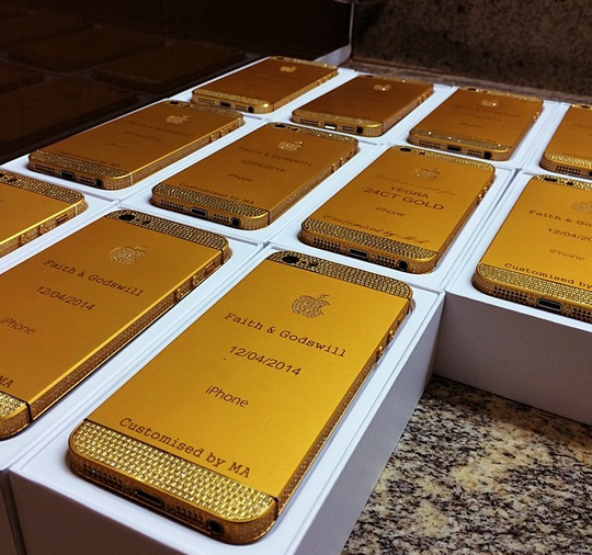 Customised 24 Carat Gold - plaited IPhones as a gift to Guests at the president Jonathan's daughter wedding