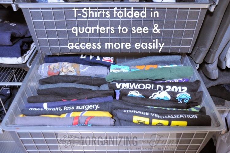 Fold T-shirts into quarter to see and access them more easily in the drawer :: OrganizingMadeFun.com