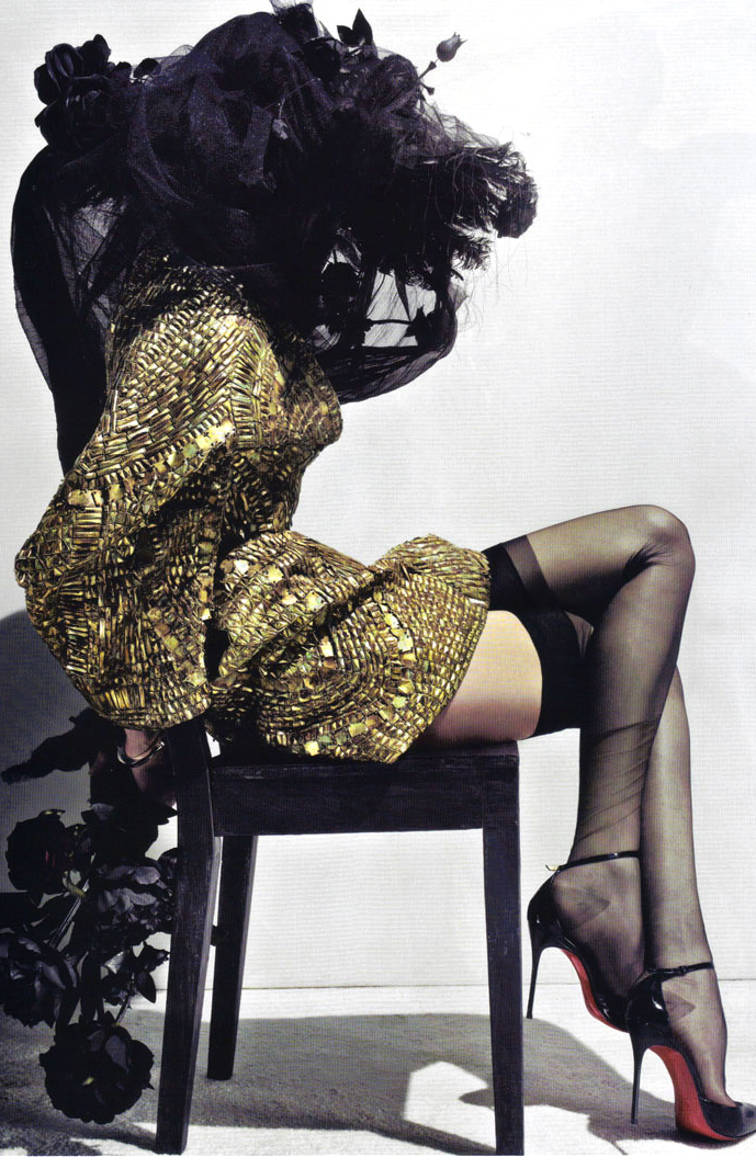 Lily Donaldson wearing Alexander McQueen couture in Erotica editorial, Vogue Paris May 2010 (photography: Steven Klein, styling: Carine Roitfeld)