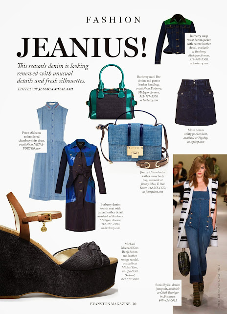 Jeanius! Spring's big trend of denim featured in Evanston Magazine by Jessica Moazami