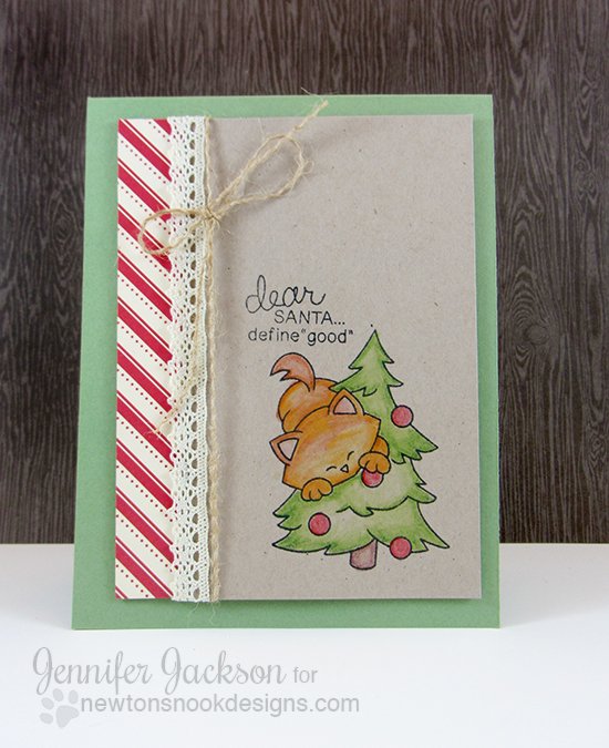 Kitty Card with Christams Tree by Jennifer Jackson for Newton' Nook Designs - Newton's Curious Christmas Stamp set