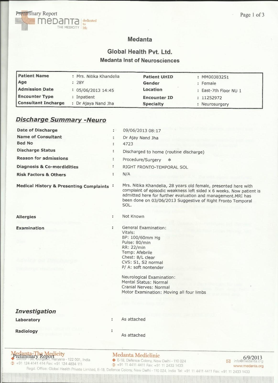 Nitika Khandelia Medical Reports June 2013