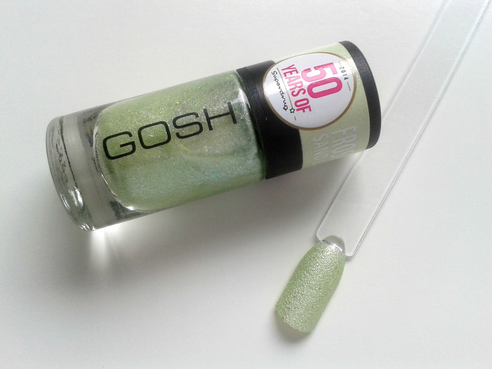GOSH Frosted Nail Lacquer in Pastel Green Review Swatch Superdrug 50th Birthday