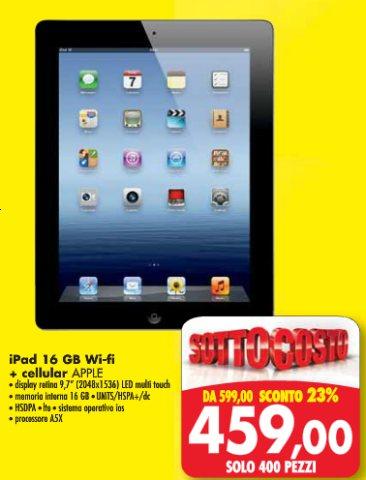 Emisfero propone nel suo ultimo volantino l'iPad di terza generazione cellular a meno di 460 euro